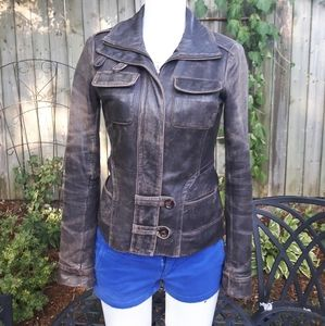 Danier leather retro brown fall #spring jacket